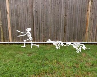 Halloween Running Yard Skeletons - dog skeletons chasing person skeleton (2)TWO Dogs