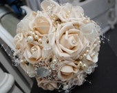 Cappuccino Rose, Diamante Brooch and Swarovski Cyrstal Wedding/Bridal Bouquet