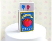 Alternative Wedding Cake Topper - The Perfect Match Matches in a Matchbox quirky niche marriage Decor Polymer Clay
