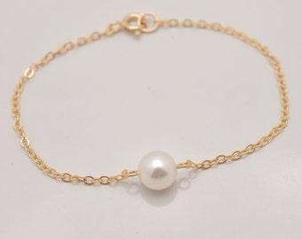 Set of 8 Gold Bridesmaid Bracelets, 8 Bridesmaid Bracelets, Gold Pearl Bracelet, Real Gold Filled Bracelets, Gold Bracelets 0329