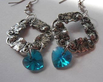 Vintage style Waterlily wreath earrings with teal Swarovski heart crystals
