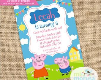 Peppa Pig, George, House, clouds, sun, Birthday Invitation