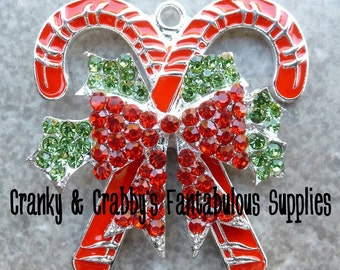 Double Candy Cane Pendant with bow Rhinestones and Enamel -  38mm x 36mm - Silver  - Christmas, Red and Green
