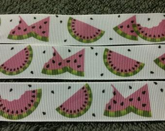 Watermelon ribbon. Fruit ribbon. Food ribbon. Grosgrain ribbon. Wholesale ribbon. Hair bow ribbon. Watermelon seed ribbon.