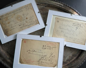 "Framed Antique Prescriptions ""Scripts"" from 1893"