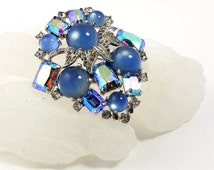 Massive Rhinestone Brooch // 1950s // Rhinestone Pin // Costume Jewelry // Blue Jelly Belly // Moonglow Stones // Blue Jewelry