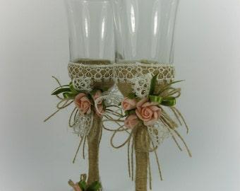Rustic Style Wedding Glasses, Rustic Wedding, Vintage Wedding, Roses, Toasting Flutes, Champagne Glasses, Wine Glasses