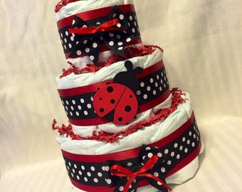 ADORABLE DIAPER CAKE - Baby Girls - Black and Red with Lady Bug  So So cute