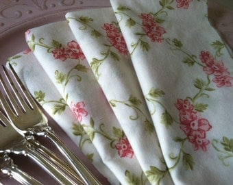 Mother's Day, Shabby Chic, Romantic Floral ,Cloth Napkins, 15 inch, Set of 4, by CHOW with ME