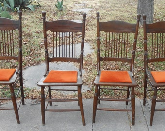 Set Of 4 Solid Wood Farmhouse Kitchen Chairs Antique Dining Cottage Decor