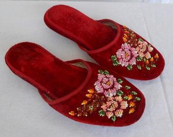 Vintage Beaded Velvet Slippers Geisha Mules Made in China