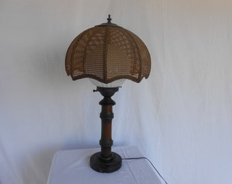 Vintage 1970s Globe Lamp Cane Wicker Shade