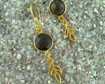 Faceted Smoky Quartz and golden Leaf earrings
