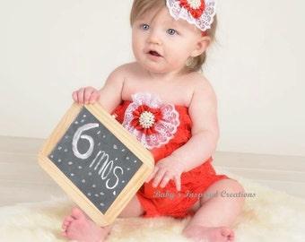 Red Baby girl Ruffled Petti Romper strapless, Barefoot Sandals, Headband, and Leg Warmers