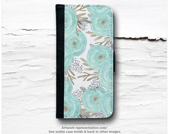 iPhone 6S Case Wallet iPhone 6 Wallet Case Ranunculus iPhone 6s Case Mint Floral iPhone 6 Wallet Case iPhone 6S Flip Wallet Case I208