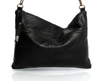 Black leather messenger bag - soft leather purse SALE Crossbody leather purse - shoulder leather bag - slouchy leather bag - judtlv bags