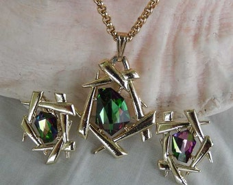Vintage Sarah Coventry Asian Style Watermelon Crystals Necklace and Clip Earrings