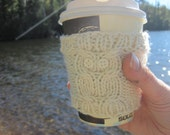 Off-White Owl Cup Cozy: Reuseable, Hand Knit Sleeve for Coffee, Tea, Hot Beverages