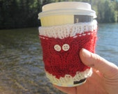 Red Owl Cup Cozy with White Stripe, Reuseable Hand Knit Sleeve for Coffee, Tea