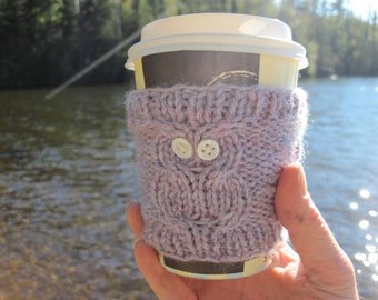Lavender Purple Owl Cup Cozy, Reuseable Hand Knit Sleeve for Coffee, Tea