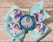 Going to Disney to See Princess Jasmine Inspired Glitter Bottlecap Matching Ribbon Bow