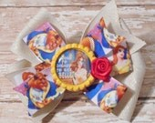 Going to Disney to See Belle Inspired Glitter Bottlecap Matching Ribbon Bow