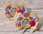 Going to Disney to See Belle Inspired Glitter Bottlecap Matching Ribbon Piggie Bows