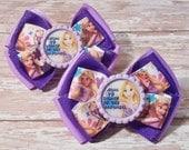 Going to Disney to See Rapunzel Inspired Glitter Bottlecap Matching Ribbon Piggie Bows
