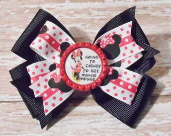 Going to Disney to See Minnie Mouse Inspired Glitter Bottlecap Matching Ribbon Bow