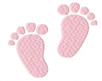 Baby boy girl feet footprints machine embroidery design 2 inch instant download