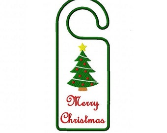 Merry Christmas tree door hanger in the hoop 5X7 machine embroidery design instant download