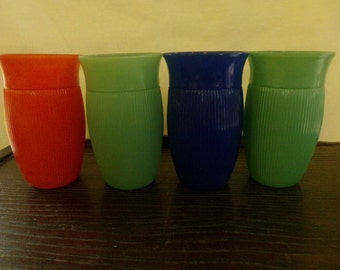 Vintage Glass/Painted Tumblers, set of 4.