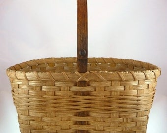 "BASKET PATTERN ""Hannah"" Braid Weave Market Basket with Interlocking V Knot"