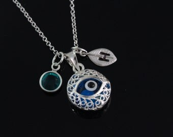 Evil Eye Necklace, Personalized evil eye necklace, 925 Sterling silver evil eye Pendant and chain. Choose initial and birthstones. CH1609