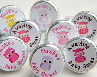 Owl Baby Shower Favors - Personalized Owl Baby Shower Favors - Baby Shower Decorations - Baby Owl Hershey Kiss Stickers - Baby Girls Owls