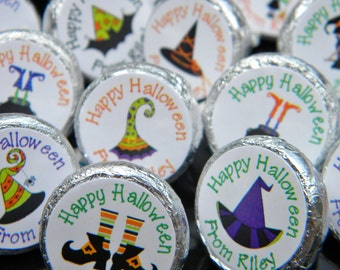 Halloween Hershey Kiss Stickers - Personalized Witch Halloween Favors - Halloween Favors - Halloween Kisses - Halloween Party Decor