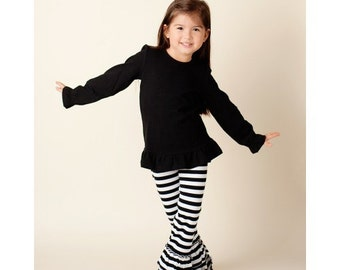 Black Stripe Double Ruffle Knit Pants in Multiple Sizes - Listing is for PANTS ONLY