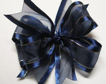 Sheer Navy Blue Organza Hair Bow Festive Holiday Dressy bow