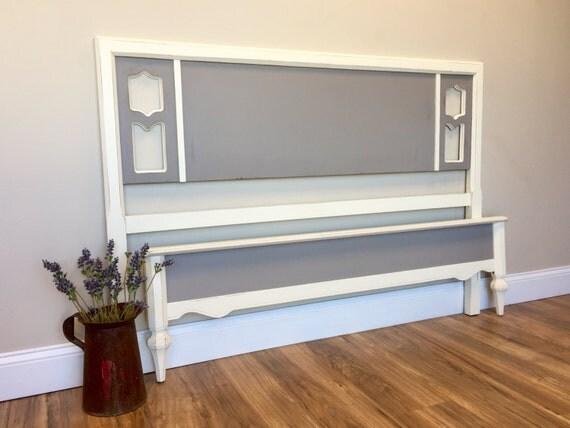 Wooden Bed Frame - Hollywood Regency - Full Size, Vintage Bed - Painted Distressed - Vintage Furniture