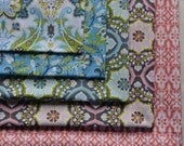 Fat Quarter Fabric Bundle, Turkish Delight Fabric,  Blend, Aqua and Teal, Coral and Pink, 5 Fabrics, Quilting, Clothing and Crafts