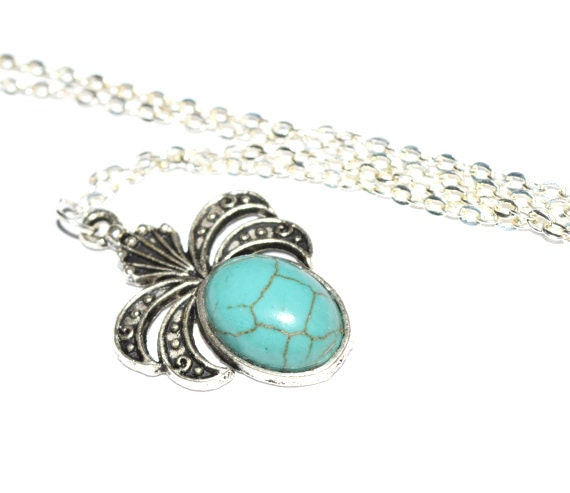 Turquoise stone necklace stone pendant necklace casual necklace