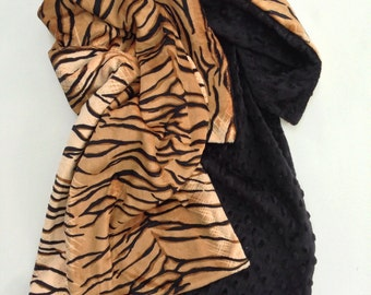 Adult Minky Blanket, Adult Throw, Tiger Print, Animal Print Minky Blanket,  Minky Couch Throw, Dorm Bedding, 50 x 58in