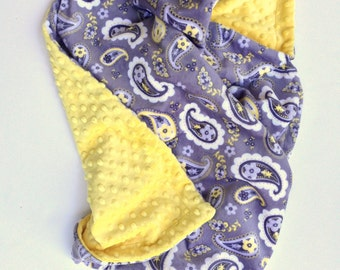 Toddler Minky Blanket,Paisley Blanket, Boy Baby Blanket, Girl Baby Blanket,Gender Neutral, Yellow Toddler Blanket, Size 40 x 50 in