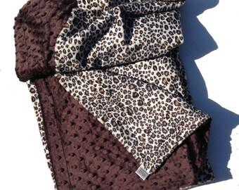 Minky Baby Blanket, Cheetah Blanket, Animal Print Blanket, Minky Boy Blanket, Minky Girl Blanket, Infant ,Carseat ,Stroller Size  29 X 36 In