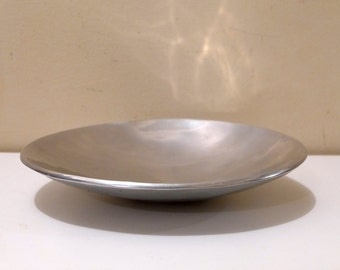 Hammered Aluminum Alloy Ovoid Low Artisan Bowl by Designco Mid Century Modern Display Egg Shaped Dish Nambe Era