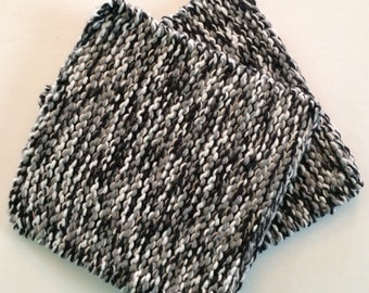 Hand Knit Pot Holders - Set of 2 - Black and Gray