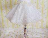 Vintage Clear Glass Lamp with Ruffled Shade
