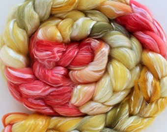 Merino Tencel Top Roving - CAMILLE - Hand dyed 100 grams