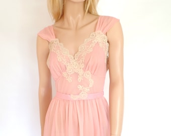 1950s Pink Lace Night Gown,Pink Nightgown, Keyser, Sheer Nylon chiffon and Lace Lingerie, Lace BabyDoll