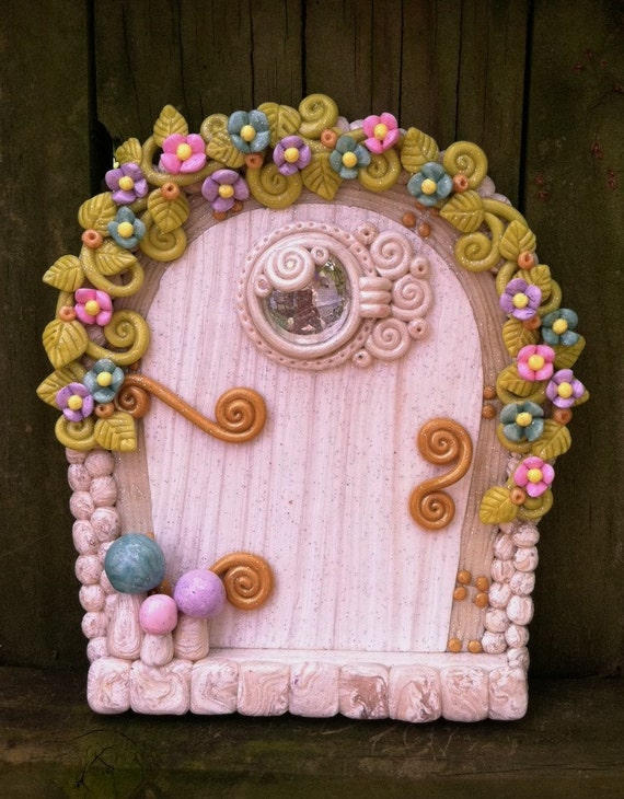 White and pastel fairy door pixie portal in polymer clay by for White fairy door